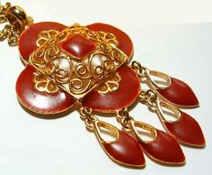 Vintage Pendant Necklace Red Rust Painted by BrightgemsTreasures, $18.50