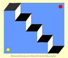 Duas escadas. a) Visualizar o ponto amarelo. Colocar esta parede em primeiro plano. Nessa escada você pode subir. b) Visualizar o ponto vermelho. Colocar esta parede em primeiro Essa escada está colada no teto. Ninguém pode usar esta escada para subir ou descer.Sempre o degrau é preto. Sempre o espelho do degrau é branco.