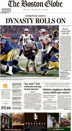Here's the Patriots' Super Bowl win on The Boston Globe's front page - The Boston Globe Best Football Team, Football Memes, Football Players, College Football, New England Patriots Players, New England Patriots Merchandise, Patriots Superbowl, Patriots Fans, Super Bowl Wins