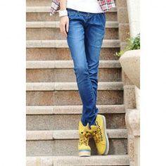 $10.09 Chic Slim-Fit Pleated Middle Waist Design Blue Denim Jeans For Women