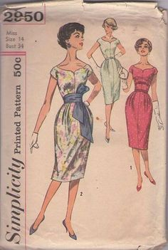MOMSPatterns Vintage Sewing Patterns - Simplicity 2950 Vintage 50's Sewing Pattern VORACIOUS Curvy Girl Rockabilly Mad Men Pleated Hips Swee...