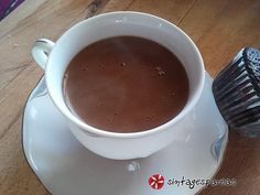 Light beverage with cocoa powder and Greek coffee Chocolate Fondue, Cocoa, Spicy, Beverages, Greek, Sweets, Restaurant, Tea, Coffee