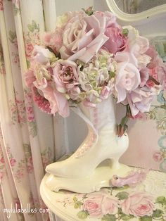 Roses and Victorian Boot flower arr Wow I have that exact same boot, just spray painted mine ballerina pink!