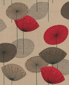 Dandelion Clocks Red wallpaper by Sanderson