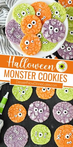 Halloween Monster Cookies are easy to make with cake mix and neon food coloring. They're topped with candy eyeballs for a spooky-cute halloween treat that tastes like a sugar cookie. Perfect Halloween party food! Cute Halloween Treats, Halloween Food For Party, Halloween Cookies, Halloween Ideas, Drop Cookies, Cake Mix Cookies, Yummy Cookies, Best Cookie Recipes, Sweets Recipes