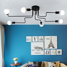 2016 Vintage Ceiling Lights Iron Multiple Rod Ceiling Lamp Creative Retro Personality Luminaria Industrial Home Lighting Fixture Living Dining Room, Dining Room Ceiling, Diy Shower Door, Retro Living Rooms, Vintage Pendant Lighting, Vintage Ceiling Lights, Dining Room Ceiling Lights, Best Bathroom Lighting, Ceiling Lights
