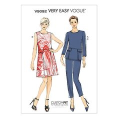 Buy Vogue Women's Top, Dress and Trousers Sewing Pattern, 9092 Online at johnlewis.com