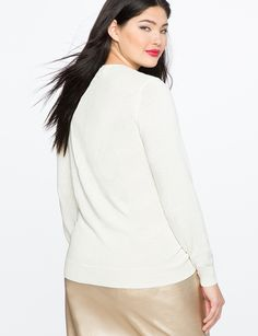 Sequin Bow Sweater   Women's Plus Size Tops   ELOQUII