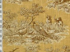 Image result for black and yellow large print french toile fabric