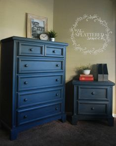 Navy Blue Dresser Painted With Annie Sloan Chalk Paint-3/5 Napolionic Blue, 2/5 Graphite, then clear and dark waxed. {Custom painted dressers by the Splattered Smock in Parker Colorado.}