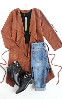 Brown Lapel Tie Waist Long Outerwear