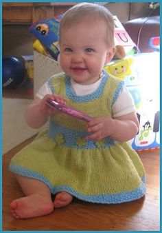 Spring knitting inspiration!  FREE PATTERN:  Cotton Twirl Baby Dress, Arella from Crystal Palace Yarns
