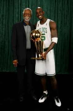 Bill Russell and Kevin Garnett: Boston Celtics. Basketball Legends, Basketball Players, Celtic Nations, Celtic Pride, Bill Russell, Kevin Garnett, Sport Icon, Wnba, Nba Champions
