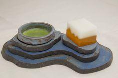 「COヶ岳(器)」「嘯風(菓子)」 東北芸術工科大学の学生さんの器と、私の 菓子のコラボ展より。コバルトの釉薬から名づけての器は等高線に見立てた物。カップは外せます~  traditional WAGASHI meet's fine art. The cup and saucer is TUAD's student.
