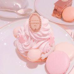 November 19 2019 at Baby Pink Aesthetic, Peach Aesthetic, Aesthetic Food, Aesthetic Pastel, Imagenes Color Pastel, Kawaii Dessert, Creme Dessert, Pink Foods, Cute Desserts