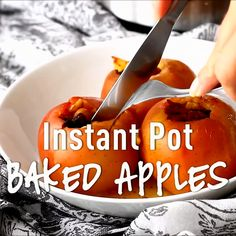 This simple baked apples recipe is loaded up with fresh apples and spices. Instant Pot Baked Apples are a real treat and so easy to make. Best Instant Pot Recipe, Instant Pot Dinner Recipes, Apple Recipes, Crockpot Recipes, Healthy Recipes, Cookbook Recipes, Cooking Recipes, Cooking Food, One Pot Meals