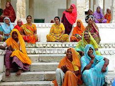 Women on the steps of a temple