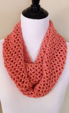 Beautiful!! Crochet Infinity Scarf Coral Scarf Spring Scarf by PeacocKouture