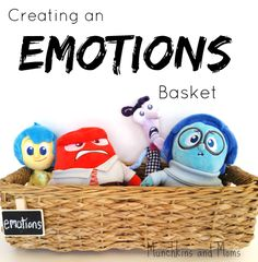 "Creating an Emotions Basket for preschoolers with toys from the Disney movie ""Inside Out"" Elementary School Counseling, School Social Work, School Counselor, Counseling Office, Social Emotional Development, Social Emotional Learning, Social Skills, Teaching Emotions, Inside Out Emotions"