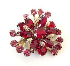 Pink Red Vintage Brooch Rhinestones Retro 1950 Costume Jewelry