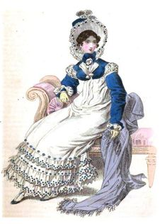 On Regency Wealth, via Angelyn Schmid (pictured, from the October 1818 issue of the Magazine--a round dress of fine cambric with muslin flounces richly embroidered in Clarence blue.  A Clarence bonnet trimmed with larkspur flowers and a Clarence spencer besides, with lapels of white satin.)
