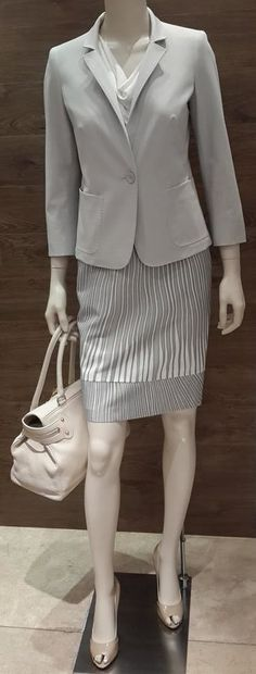 """Maximum business chic at MaxMara: MaxMara light grey fitted cotton blend jacket with ¾ sleeve   Studio collection white viscose short sleeve blouse   MaxMara grey & white print cotton & viscose blend straight skirt   MaxMara """"Margaux"""" luxurious cream deerskin leather handbag also available in tan deerskin leather   MaxMara """"Filly"""" nude patent leather peep toe shoe.  Prices on request."""