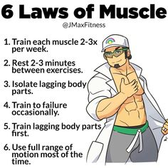 6 LAWS OF MUSCLE All of the current science and research of muscle growth can b. by fitness🥦🥬🍉🏋️🏋️ Planet Fitness Workout, Muscle Fitness, Fitness Tips, Men's Fitness, Band Workout, Gym Workout Tips, Workout Bodyweight, Workout Men, Workout Routines