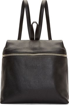 Kara Black Pebbled Leather Backpack