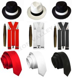 MENS GANGSTER PIMP HAT BRACES TIE CIGAR 1920'S MAFIA ADULT FANCY DRESS COSTUME #Unbranded #CompleteOutfit