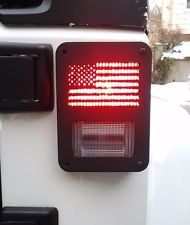 "2pc Jeep Wrangler JK (2007-2016) ""US FLAG"" Metal Tail Light Cover Guards"
