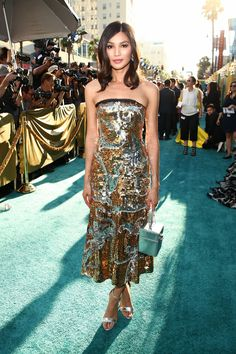458e9fa12 Chinese Londoner: Transformers stunner Gemma Chan - who plays Astrid  Leong-Teo - dazzled in a metallic-sequinned cocktail dress and Jimmy Choo  stilettos ...