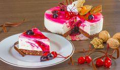 Rezept für einen leichten Low Carb Kirsch-Quark-Kuchen - kohlenhydratarm, kalorienarm, ohne Zucker und Getreidemehl