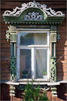 """The window frames of Kostroma city.""  Photo by Ivan Hafizov viaRussia Travel Blog (http://russiatrek.org/blog/culture/the-window-frames-of-kostroma-city/)."