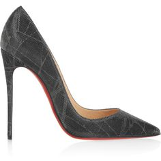 Christian Louboutin So Kate 120 metallic twill pumps, Women's, Size:... ($675) ❤ liked on Polyvore featuring shoes, pumps, pointy toe stiletto pumps, metallic shoes, pointed toe stilettos, heels stilettos and pointed toe shoes