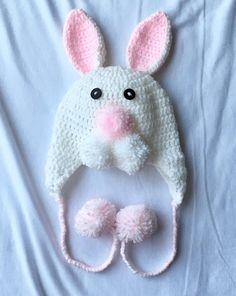 Baby Girl Crochet, Newborn Crochet, Crochet Bunny, Crochet Baby Hats, Bunny Hat, Baby Hat Patterns, Baby Bonnets, Baby Shower Gifts, New Baby Products