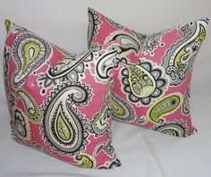 Two Pink Paisley Pillow Covers Pink Black Grey Lime by HomeLiving, $34.00