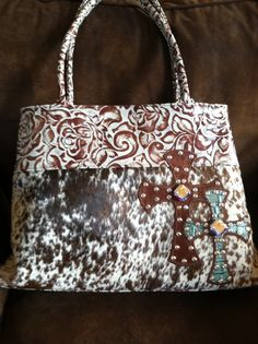 ༻✿༺ ❤️ ༻✿༺ Kurtmen ALIDA Turq Tooled Leather w| Hair on Hide & Swarovski Crystals ༻✿༺ ❤️ ༻✿༺