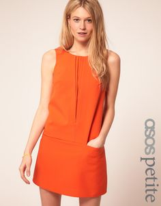 ASOS Petite Exclusive Pleat Front Sleeveless Shift Dress in Orange, UK 6P, $33 - Fit very strange on me. Not made for someone with hips (and I don't have wide ones). I think you need to be very straight and slim for it to drape nicely.