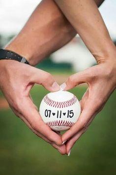 Save the date, baseball engagement pics, baseball heart, Ohio University