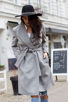 Long Grey Wrap Coat   Not Your Standard