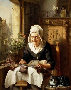 Josephus Laurentius Dyckmans 1811 1888 Artist Artwork This Is Called The Old Lacemaker Art And Illustration, She And Her Cat, Art Du Fil, Bobbin Lacemaking, Lace Art, Lace Painting, Dutch Painters, Sewing Art, Dutch Artists