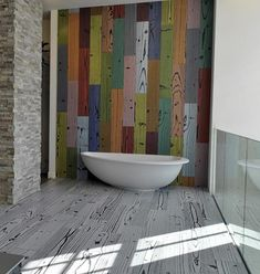 Inspiring Flooring Design Ideas : Cool Colorful Hand Painted Wooden Floors Walls Ideas In Bathroom Interior Design Bathroom Tile Designs, Bathroom Floor Tiles, Bathroom Interior Design, Home Interior, Wall Tiles, Tiled Bathrooms, Tile Art, Bathroom Wall, Master Bathroom