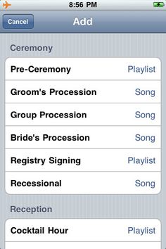 "Great Idea! ""Running your music on an iPod can be great, but not if the wrong song comes on or the music cuts out. That's why WeddingDJ helps you plan out all the music you need at your wedding, using the songs and playlists you have in iTunes. When the big day comes, you hand it off to your MC, who simply needs to slide ""next"" for each part of your wedding"""