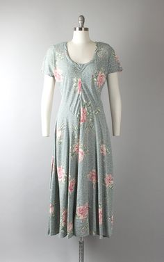 Vintage 1930s Style Dress | 80s Rose Floral Novelty Print Rayon Crepe Bias Cut Pink Blue Maxi Dress (medium/large) | Birthday Life Vintage on Etsy