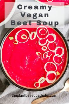 This Creamy Vegan Beet Soup is ultra smooth and creamy. It's filled with earthy beet flavor, and balanced out with potatoes, garlic, and leeks. This soup is great for a cozy weeknight dinner. #soup #vegansoup #goodsoup #beetsoup #plantbasedsoup #souprecipes #meatlessmonday #meatless #meatlessmeals #nomeat #vegan #glutenfree #oilfree #sugarfree #plantbased #oilfreevegan #sugarfreevegan #glutenfreevegan #wfpb #forksoverknives #catholic #catholiclife #theplantbasedcatholic