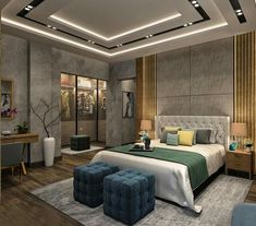 Modern Contemporary Bedroom in Cairo on Behance House Ceiling Design, Ceiling Design Living Room, Bedroom False Ceiling Design, Room Design Bedroom, Master Bedroom Interior, Modern Master Bedroom, Bedroom Furniture Design, Modern Ceiling Design, Bedroom Designs