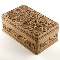 Wooden Jewelry Chest, Hand Carved Walnut Wood Jewelry Box, India, Kashmir