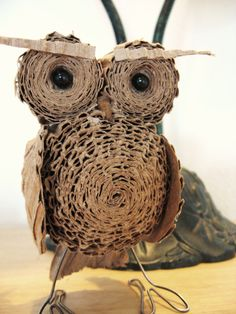 Standing Cardboard Owl Miniature. $20.00, via Etsy.