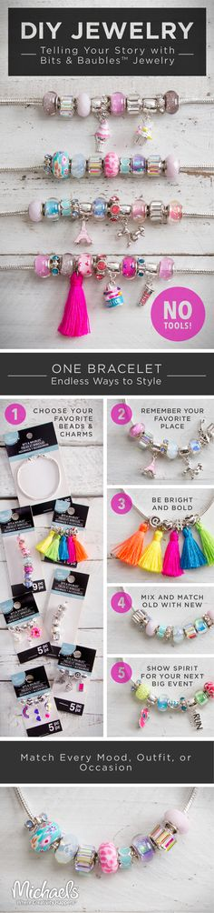 Tell your story with these easy to make stylish Bits & Baubles Jewelry pieces.