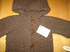 Child Jacket with Hood For Size 6 or 8 Knitted Undyed Peruvian Ecological Wool - pinned by pin4etsy.com